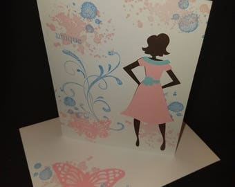 Pink and Blue Unique  Butterfly Card