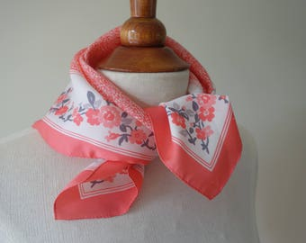 Orange-pink scarf - cherry blossomprint