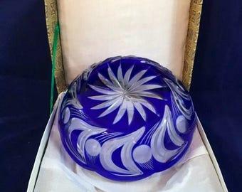 Vintage, Cobalt Cut to Clear, Crystal Bowl, in original box!  Mint