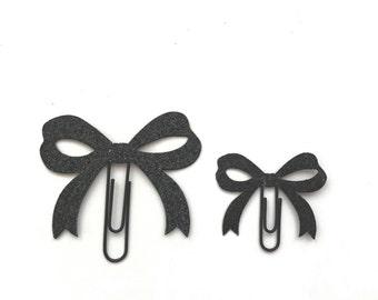 Black Glitter Paper Bow Clip