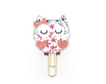 Floral Brights Owl Paper Clip