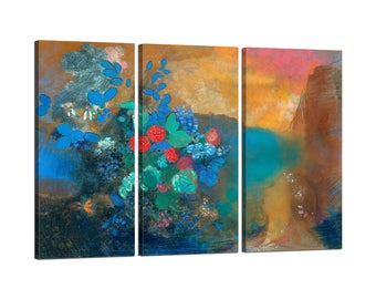 Painting on canvas with Tris Frame Odilon Redon Ophelia among the flowers