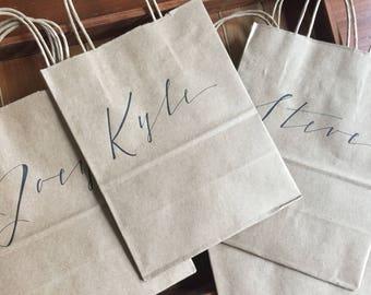Personalized Gift Bag, groomsmen gift, groomsman, hand-lettered, modern script, white or brown kraft bag