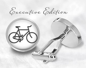 Cufflinks - Bicycle Cufflinks - Fixed Gear Bike Cufflinks - Cycling Cufflinks - Cyclist Cufflink (Pair) Lifetime Guarantee (S0690)