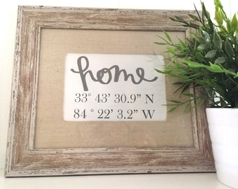 Latitude Longitude Sign | House Warming Gift | Wedding Gift | New Home Housewarming Gift | GPS Coordinates [Item does not include frame]