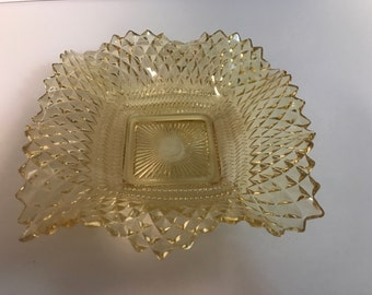 Amber Glass Hobnail Square Dish