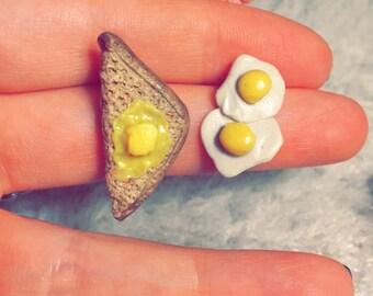 Toast and Eggs Stud Earrings