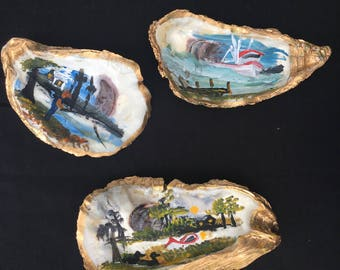 Hand painted oyster art