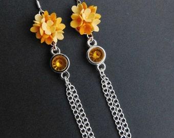 Wedding earrings Long flower earrings Orange jewelry Birthday gift Girlfriend gift Woodland earrings Floral jewelry Nature gift for her