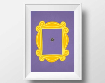 Friends TV Show Minimalist Poster, Friends TV Show, Friends Peephole Frame, Friends Poster Wall Art, Yellow Apartment Door Frame Print, 2077