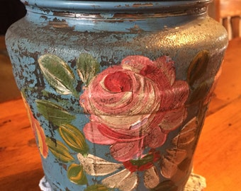 Large Ball Jar with Painted Flowers