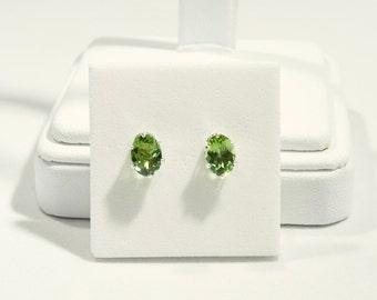 Green Apatite 1.46 TCW 7 x 5 MM Oval Sterling Silver Stud Earrings