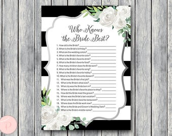 How well do you know the Bride game, Who knows the bride best, Engagement Game, Bridal shower Game Printable, Instant Download TH81