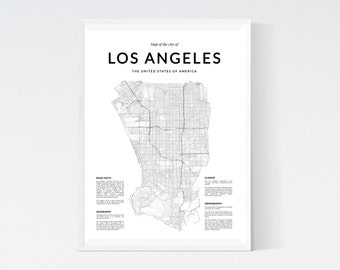 Los Angeles map, Los Angeles wall art, Wall Art, Los Angeles print, Los Angeles poster, Los Angeles wall art, Black and White art, Map print