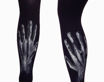 Hand Print Tights, Hand Print Leggings, Painted Leggings, Black Leggings, Women's Tights, Painted Tights
