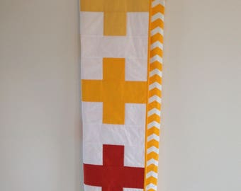 Ombre Swiss Cross Quilt - Plus Quilt - Yellow and Orange - Modern Homemade Quilt - Toddler Quilt - Lap Quilt - Crib Quilt - Baby Quilt