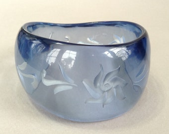 Reverse Carved Clear Blue Asymmetrical Lucite Bangle Bracelet