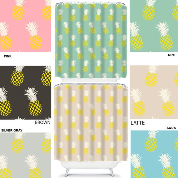 pineapple shower curtain retro bathroom decor teen shower curtains pineapple decor yellow shower curtain yellow bathroom