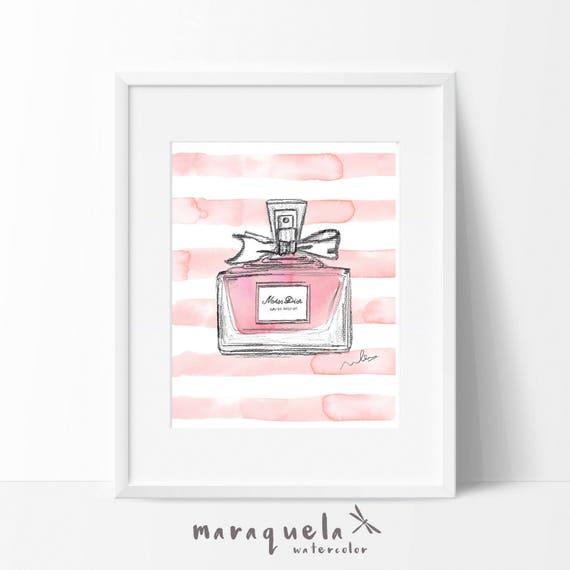 MISS DIOR Parfum modern Illustration WATERCOLOR, elegant shades. Fragrance fashion glamour cherie eau de parfum, absoluty blooming art wall