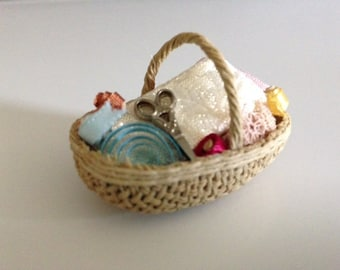 Tiny dollhouse sewing basket