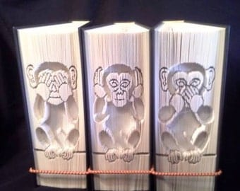 3 Wise Monkeys cut and fold trilogy book folding Patterns