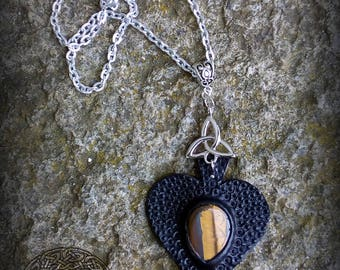 Black Embossed Leather Pendant with Synthetic Tiger's Eye Stone