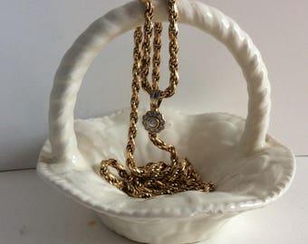 Vintage 1988 basket shaped ceramic dish. Ceramic ring dish. Small white Ceramic basket for rings, coins, trinkets.