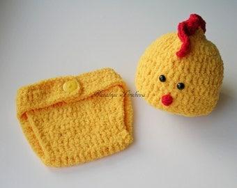 Newborn Chick Hat/Crochet Chick Hat & Diaper Cover/Chick Hat/Baby Chick Outfit/Easter Hat/Newborn Photo Prop/Crochet Easter Hat/Crochet Set