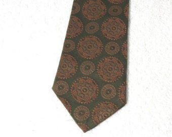 Vintage Crown Geometric Necktie Mens 1960s Dacron Polyester Forest Green Classic Rockabilly