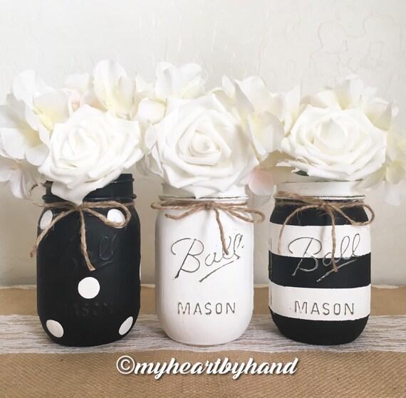 Mason Jar Party Decorations: Black And White Mason Jar Centerpieces Distressed Mason Jars