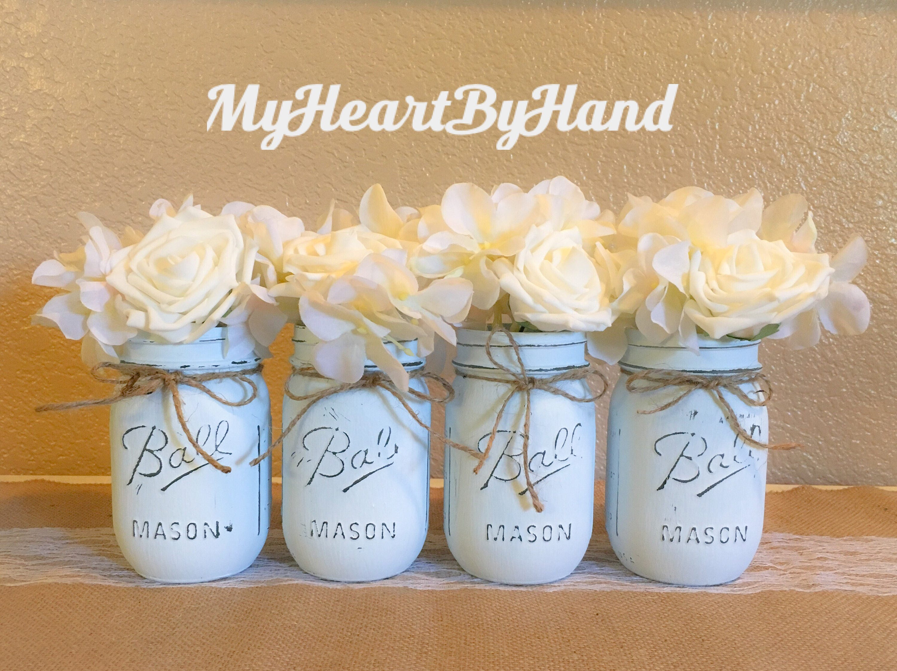 Baby Blue Distressed Mason Jars Light Blue Baby Shower