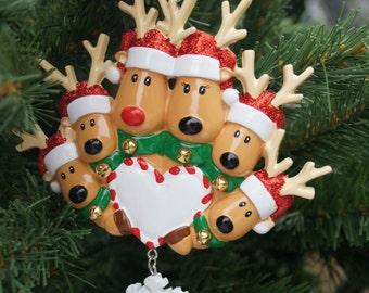 Personalised Christmas decoration, reindeer family of 2,3,4,5 or 6 decoration,family decoration, large family decoration,personalised family