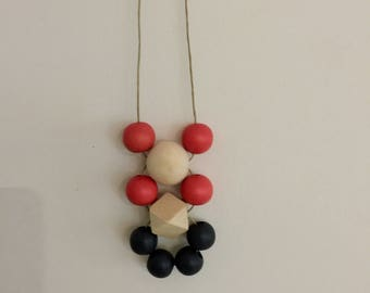 Wooden Bead Necklace |  Autumn winter colours  |  hand painted