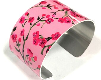 Cuff Bracelet CHERRY BLOSSOM, Pink, Aluminum, Jewelry, Wrist-Art, Sublimation, gift for friends