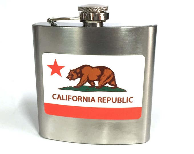 Flask 6oz, California flag, sublimated, customizable, Stainless Steel, gift for friends or yourself