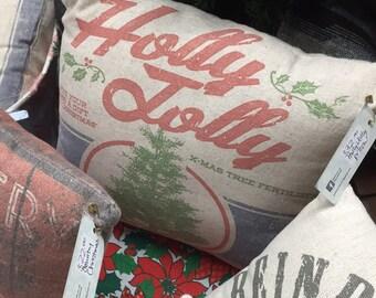 Holly Jolly Vintage Farmhouse Super Soft Christmas Pillow