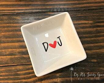 Initials With Heart Ring Dish | Ring Holder | Jewelry Holder | Engagement Gift | Bride To Be | Valentine's Day | Anniversary Gift