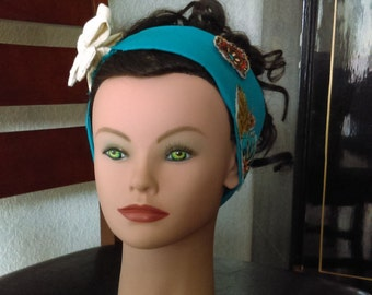 Teal with Floral Winter Headband