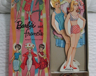 Barbie and Francie her 'MOD'ern cousin Magic Stay-On Paper Dolls 1966