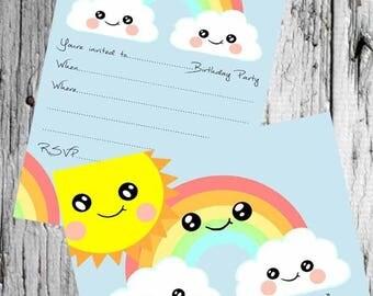 Cute Sun Rainbow & Cloud Party Invitations 8 per pack Kawaii Party Invites