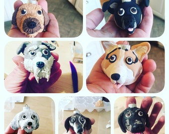 FREE SHIPPING! Custom Dog/ Cat Ornaments Made With Polymer Clay Any Breed