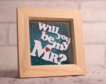 Will you be my Mr?, wedding proposal, valentines day gift, valentines papercut, framed papercut, gift for him,  engagement papercut