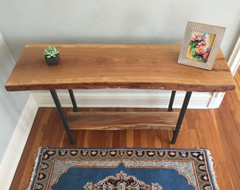live edge entryway table console table sofa table rustic industrial mid century modern cherry slab double