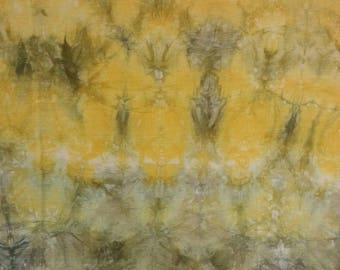 Hand-coloured fine linen, shibori, patchwork, quilt, sewing, batik, to the delight of...