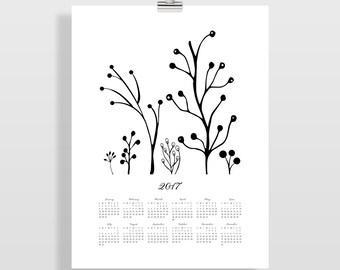 2017 Wall Calendar, Large Calendar, Floral Calendar, Christmas Gift for Her, Office Wall Decor, Gift for Him, Teacher Gift, Illustration