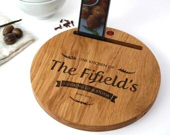 Oak And Copper Chopping Board - iPad Stand - personalised chopping board - wedding gift - personalized cutting board - oak chopping board