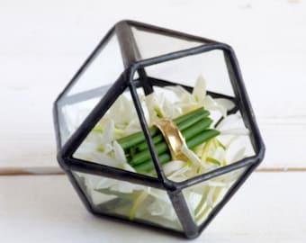 Wedding Ring Box. One Mini Geometric Wedding Ring Box, Use As a Ring Bearer Box, Jewelry Box, Wedding Ring Holder or Plain Glass Box
