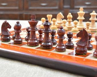 Staunton Chess Set Bud Rose Wood Chess Board 14 inches. SKU: D0107