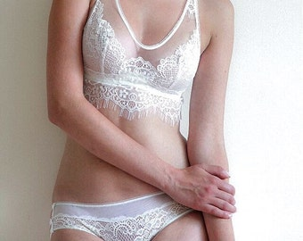 Less Is Amor Luis Lingerie Set. Bra,Underwear,Crop Top, Sexy Lingerie, Sheer Lingerie.