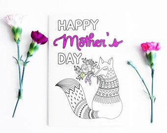 Printable Mothers Day Card Floral, Instant Download Card for Mom, Mothers Day Keepsake Card, Card from Children Coloring Card